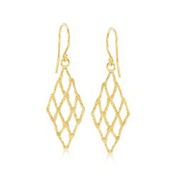 18kt Yellow Gold Over Sterling Silver Openwork Drop Earrings , , default