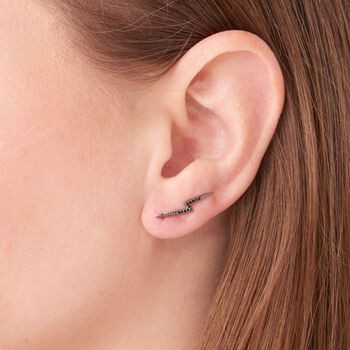 .13 ct. Tw. Black Diamond Bolt Ear Crawlers in 14kt White Gold , , default