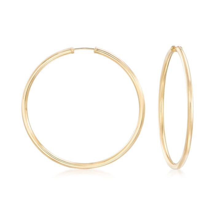 "2.5mm 14kt Yellow Gold Endless Hoop Earrings. 2"", , default"