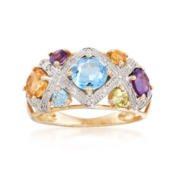 1.80 ct. t.w. Multi-Stone Lattice Ring With Diamond Accents in 14kt Yellow Gold, , default