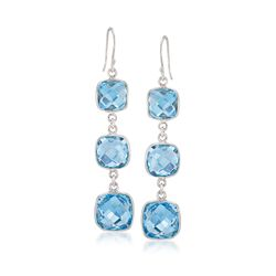 20.95 ct. t.w. Blue Topaz Drop Earrings in Sterling Silver, , default