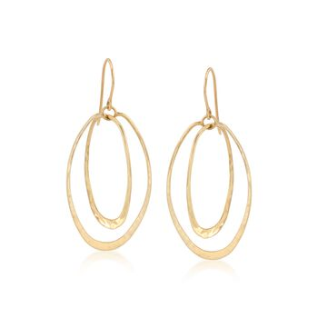 "14kt Yellow Gold Double Oval Hoop Earrings. 1 7/8"", , default"