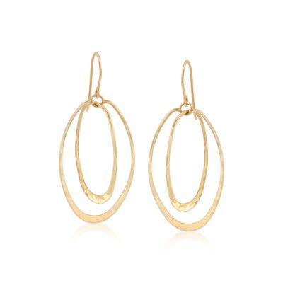 14kt Yellow Gold Double Oval Hoop Earrings, , default