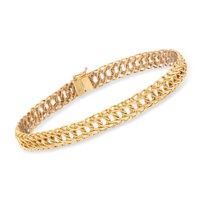 14kt Yellow Gold Flat Oval-Link Bracelet, , default