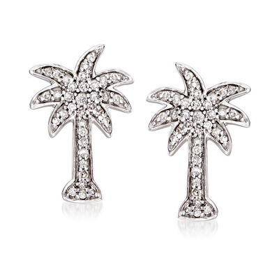 .20 ct. t.w. Diamond Palm Tree Earrings in 14kt White Gold, , default