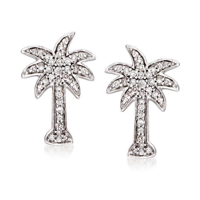 .20 ct. t.w. Diamond Palm Tree Earrings in 14kt White Gold