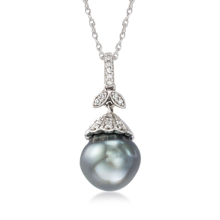 10-10.5mm Cultured Tahitian Pearl Pendant Necklace with Diamond Accents in 14kt White Gold. 17""