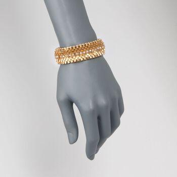 "C. 1970 Vintage 2.80 ct. t.w. Diamond Wide Textured Bracelet in 18kt Yellow Gold. 6.75"", , default"