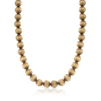 "C. 1950 Vintage 14kt Yellow Gold Fluted Bead Necklace. 16.5"", , default"