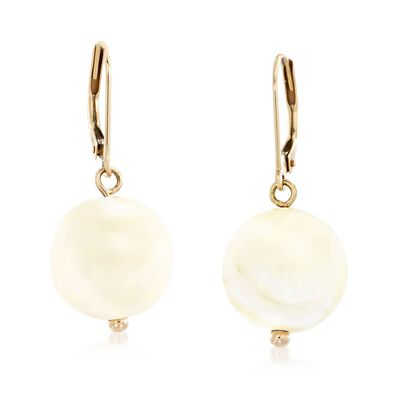 Mother-Of-Pearl Bead Drop Earrings in 14kt Yellow Gold, , default