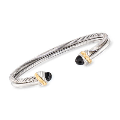"Phillip Gavriel ""Italian Cable"" 4.5mm Black Onyx Cuff Bracelet in Sterling Silver and 18kt Yellow Gold"