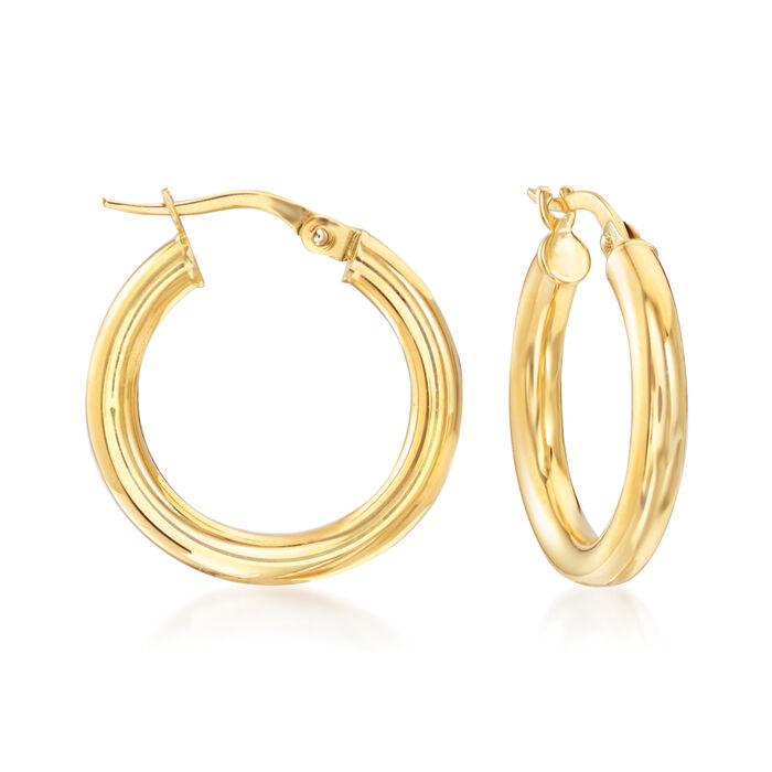 """Italian 3mm 18kt Yellow Gold Hoop Earrings. 7/8"""", , default"""