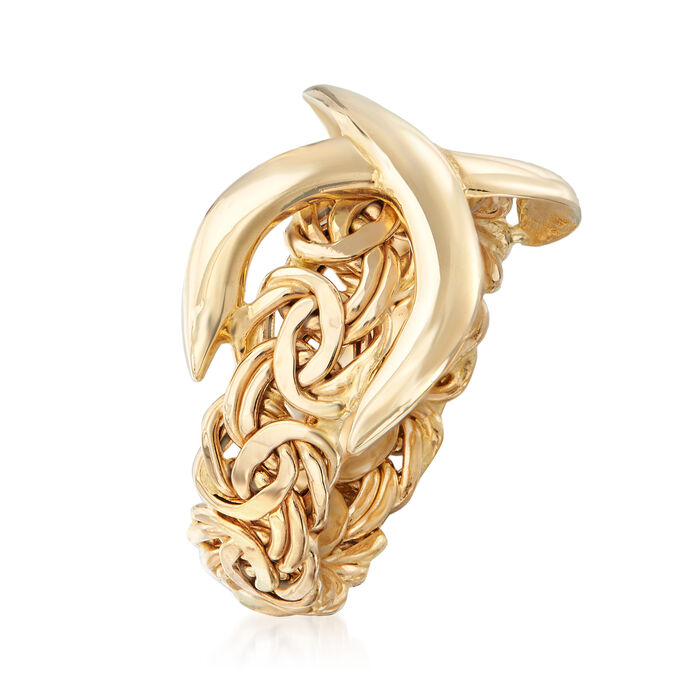 14kt Yellow Gold Byzantine Infinity Ring