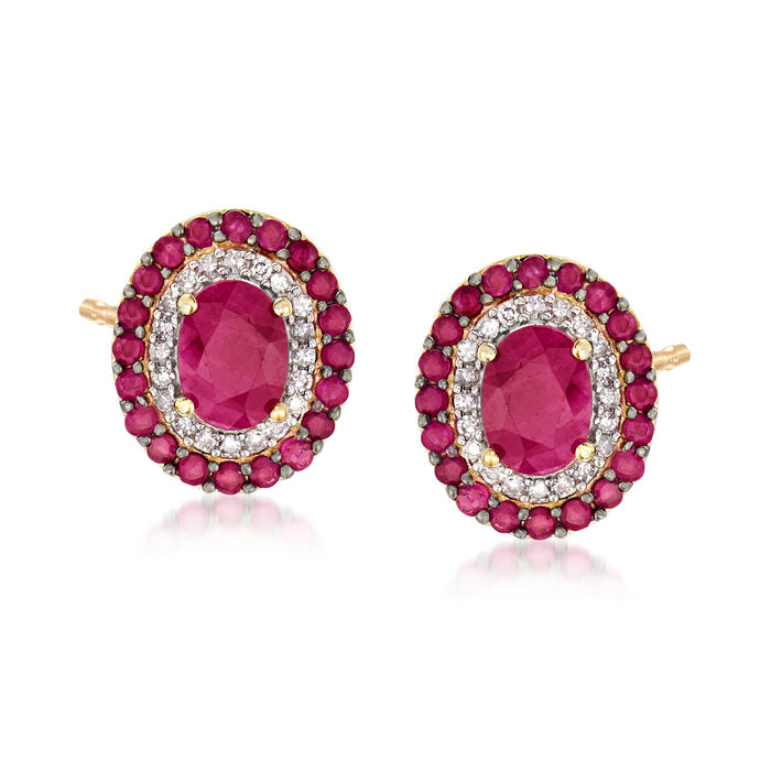 2.70 ct. t.w. Ruby and .24 ct. t.w. Diamond Earrings in 14kt Yellow Gold