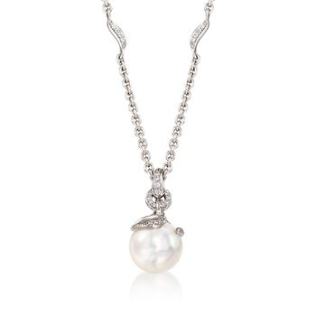 """Mikimoto 8.5mm A+ Akoya Pearl Pendant Necklace With .15 ct. t.w. Diamonds in 18kt White Gold. 16"""", , default"""