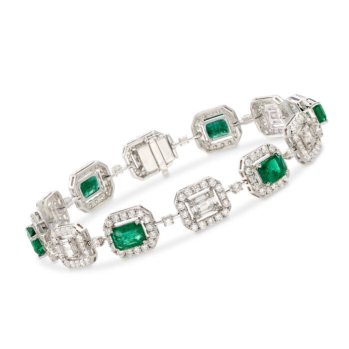 """4.70 ct. t.w. Emerald and 4.41 ct. t.w. Diamond Bracelet in 18kt White Gold. 7"""", , default"""
