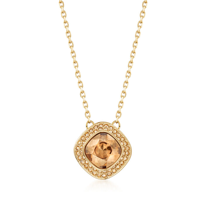"Swarovski Crystal ""Latitude"" Clear Crystal Halo Necklace in Gold-Plated Metal. 16.5"""