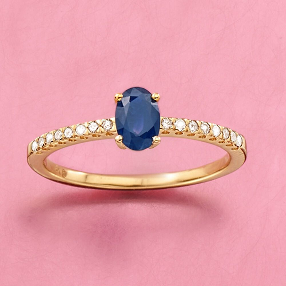60 Carat Sapphire and .11 ct. t.w. Diamond Ring in 14kt Yellow Gold ...