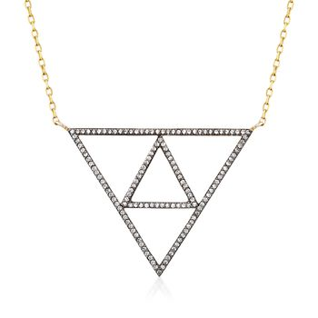 """1.10 ct. t.w. White Topaz Triangle Necklace in 18kt Gold Over Sterling. 24"""", , default"""