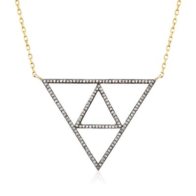 1.10 ct. t.w. White Topaz Triangle Necklace in 18kt Gold Over Sterling, , default