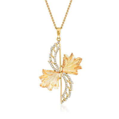 C. 1990 Vintage 10.00 ct. t.w. Citrine and .33 ct. t.w. Diamond Leaf Pendant Necklace in 14kt Yellow Gold