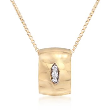 """Roberto Coin """"Golden Gate"""" Pendant Necklace With Diamond Accents in 18kt Yellow Gold. 17"""", , default"""