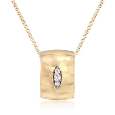 "Roberto Coin ""Golden Gate"" Pendant Necklace With Diamond Accents in 18kt Yellow Gold, , default"