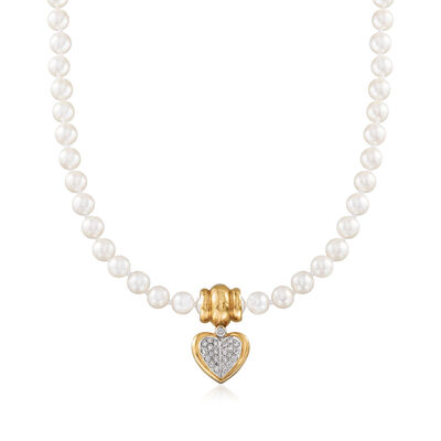 C. 1980 Vintage Chimento 7mm Cultured Pearl and .60 ct. t.w. Diamond Heart Pendant Necklace with 18kt Yellow Gold, , default