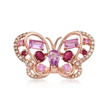 2.01 ct. t.w. Multi-Stone Butterfly Ring in 18kt Rose Gold, , default
