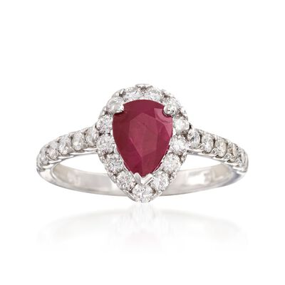 1.20 Carat Pear-Shaped Ruby and .75 ct. t.w. Diamond Ring in 14kt White Gold, , default