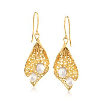 4.5-5mm Cultured Pearl Leaf Drop Earrings in 18kt Yellow Gold Over Sterling Silver, , default