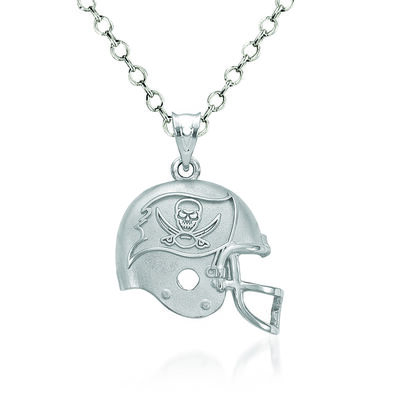 "Sterling Silver Tampa Bay Buccaneers Football Helmet Logo Pendant Necklace. 18"", , default"