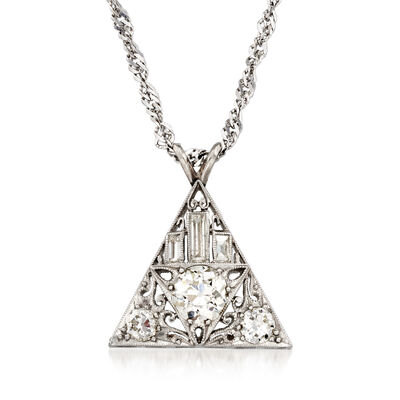 C. 1925 Vintage 1.55 ct. t.w. Diamond Triangle Pendant Necklace in Platinum and 14kt Yellow Gold, , default