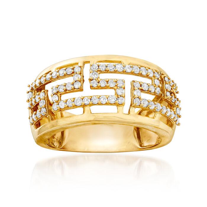.55 ct. t.w. Diamond Greek Key Ring in 14kt Yellow Gold, , default