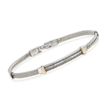 """ALOR Men's Stainless Steel Cable Bar Bracelet With 18kt Yellow Gold. 7.75"""", , default"""