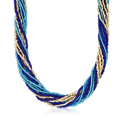 Italian Blue and Golden Murano Glass Bead Torsade Necklace with 18kt Gold Over Sterling, , default
