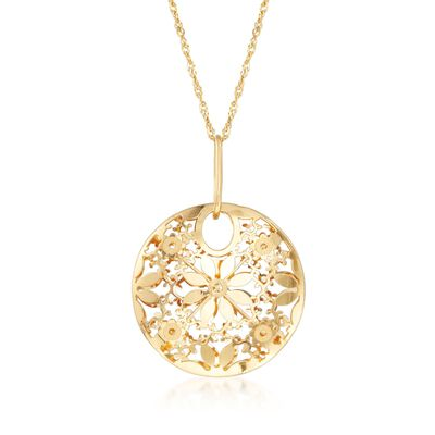 Italian 14kt Yellow Gold Circle Flower Pendant