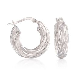 14kt White Gold Ribbed Hoop Earrings, , default