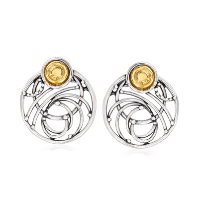 Sterling Silver and 14kt Yellow Gold Open-Circle Earrings, , default