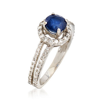 C. 1990 Vintage 1.00 Carat Sapphire and .50 ct. t.w. Diamond Ring in 14kt White Gold. Size 6, , default