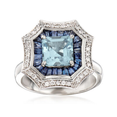 1.10 Carat Aquamarine and 2.90 ct. t.w. Sapphire Ring with Diamonds in 14kt White Gold
