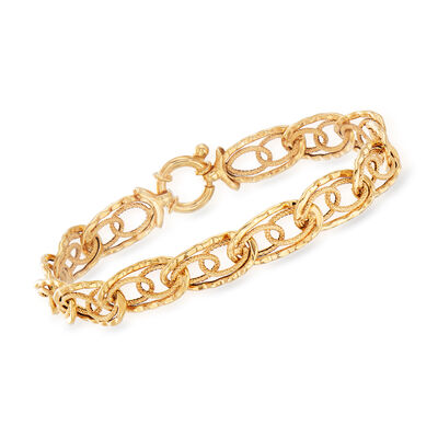 Italian 18kt Yellow Gold Interlocking Oval-Link Bracelet