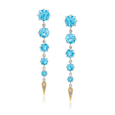 "Andrea Candela ""Fugaz"" 11.00 ct. t.w. Blue Topaz and Diamond Earrings in 18kt Gold and Sterling"