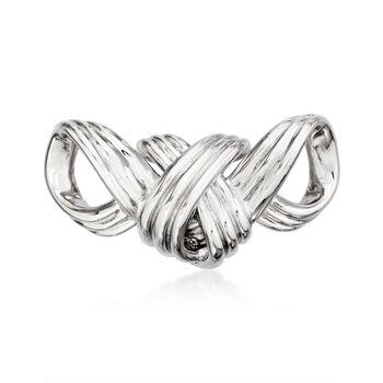 Sterling Silver Ribbed Ribbon Slide Pendant, , default