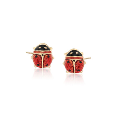 Child's Red Enamel Ladybug Stud Earrings in 14kt Yellow Gold, , default