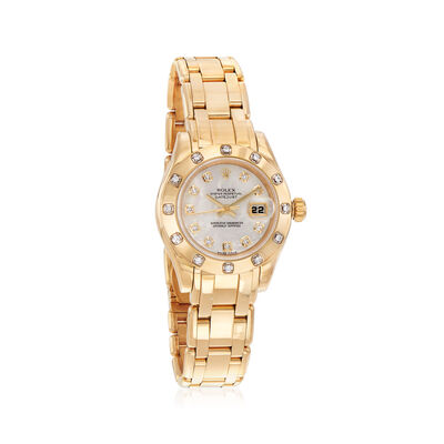 Pre-Owned Rolex Pearlmaster Women's 29mm Automatic Watch in 18kt Yellow Gold with Diamonds and Mother of Pearl, , default
