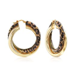 Italian Leopard Print Enamel and 18kt Gold Over Sterling Hoop Earrings, , default