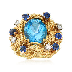 C. 1980 Vintage 6.60 Carat Blue Topaz and 1.40 ct. t.w. Multi-Stone Ring in 18kt Yellow Gold, , default