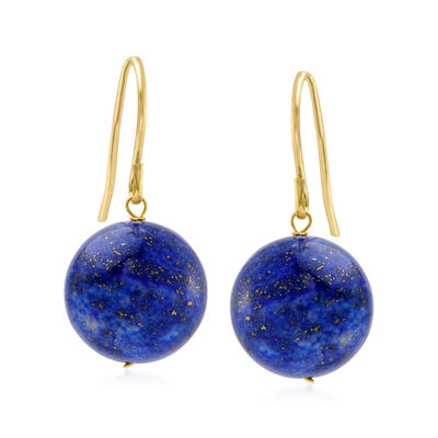 12mm Lapis Drop Earrings with 14kt Yellow Gold