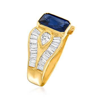 C. 1980 Vintage 2.30 Carat Sapphire and 1.56 ct. t.w. Diamond Ring in 18kt Yellow Gold. Size 6.5, , default